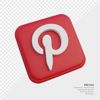 고립 된 둥근 모서리 사각형에 pinterest 아이소메트릭 3d 스타일 로고 개념 아이콘