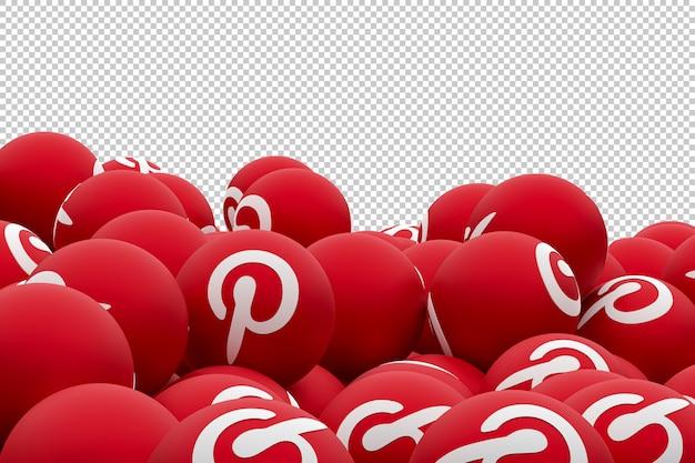 Pinterest logo emoji 3d render, символ воздушного шара в социальных сетях с pinterest
