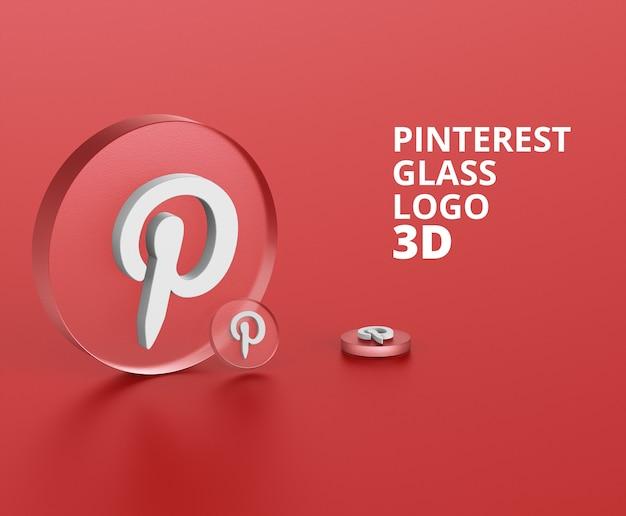 Pinterestロゴガラス3dモックアップ