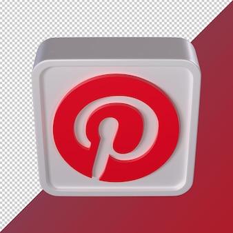 Pinterest transparent 3d social media logo rounded square shaped