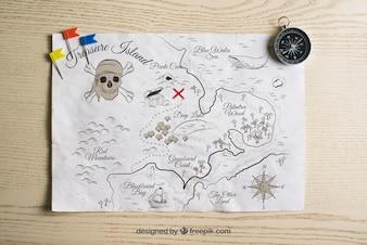 Pirate treasure map concept