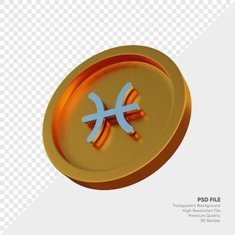 황금 동전 3d 그림에 물고기 자리 조디악 별자리 기호