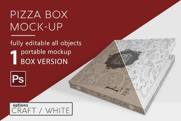 Мокап коробки для пиццы