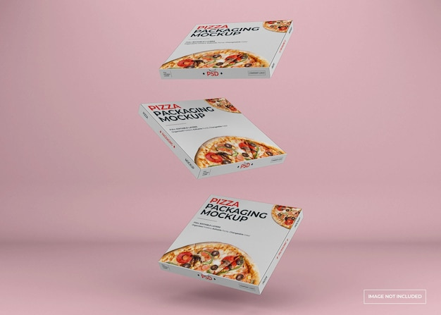 Pizza box packaging mockup design isolated