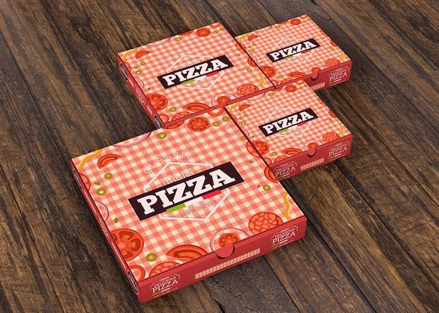 異なるサイズのピザボックスモックアップ