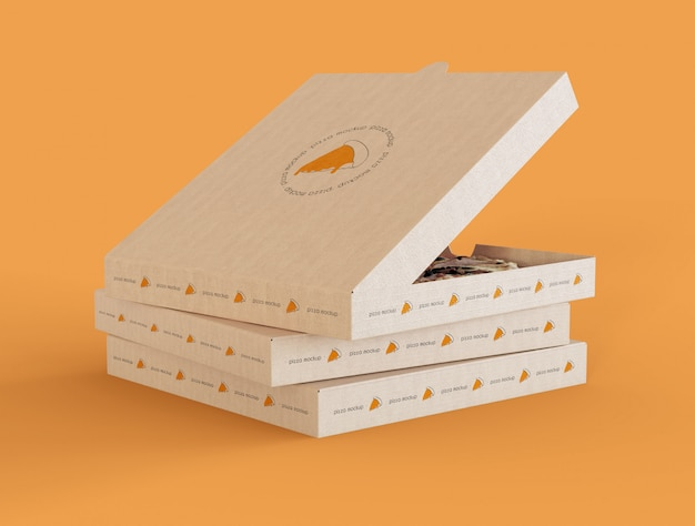 Pizza boxes mockup