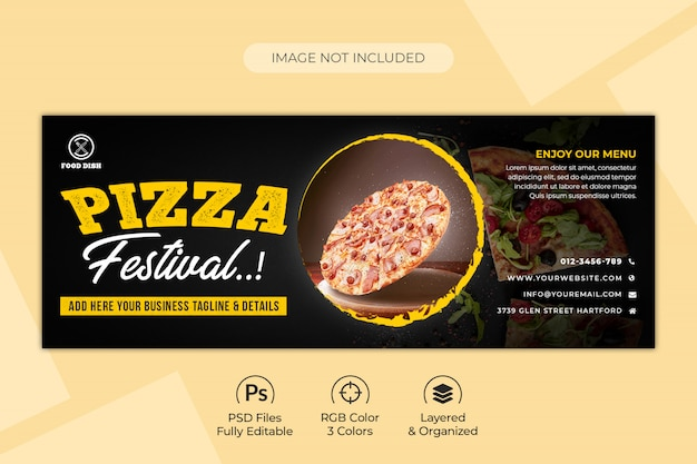 Pizza or fast food facebook or social media banner template