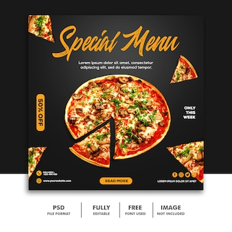 ピザ料理ソーシャルメディア投稿バナーテンプレート