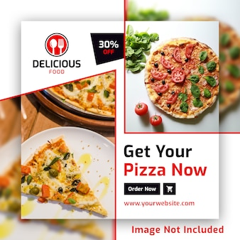 Pizza instagram square post banner psd template for restaurant