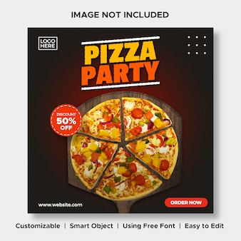 Pizza party food discount menu promotion social media instagram post banner template
