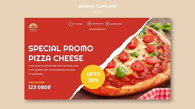 Pizza restaurant banner template