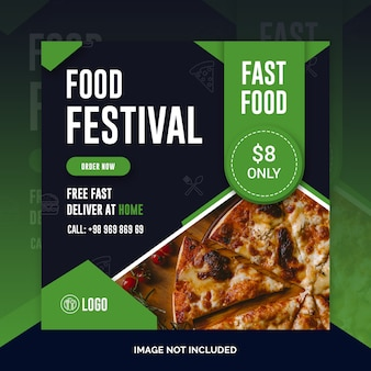 Pizza restaurant instagram post, square banner or flyer template