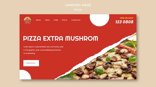 Pizza restaurant landing page template