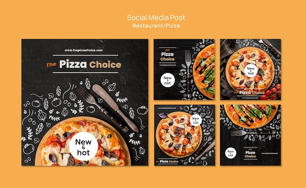Pizza restaurant social media post template