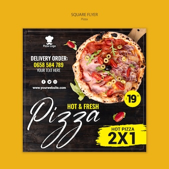 Pizza restaurant square flyer template with photo