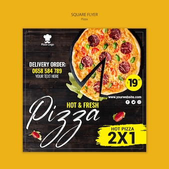 Pizza restaurant square flyer template