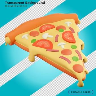 ソーセージとチーズのファーストフードメニューの3dレンダリングイラストとピザスライス