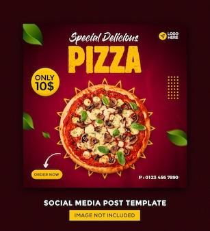 ピザソーシャルメディアとinstagramの投稿デザインテンプレート