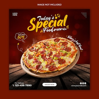Pizza social media post template design