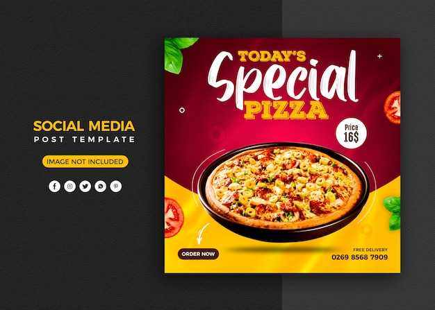 Pizza social media promotion and instagram banner post design template