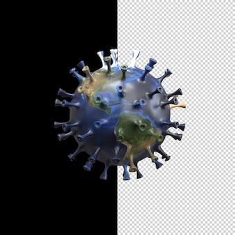 Planet earth transforms into the covid-19 virus