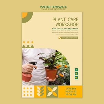 Plant care workshop poster template