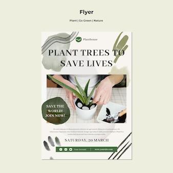 La pianta diventa verde volantino natura