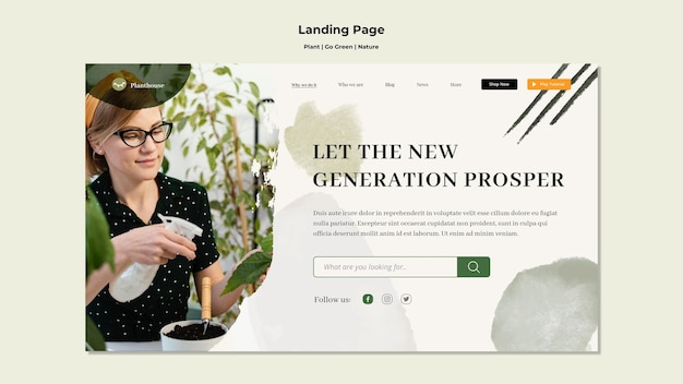 Plant go green nature landing page