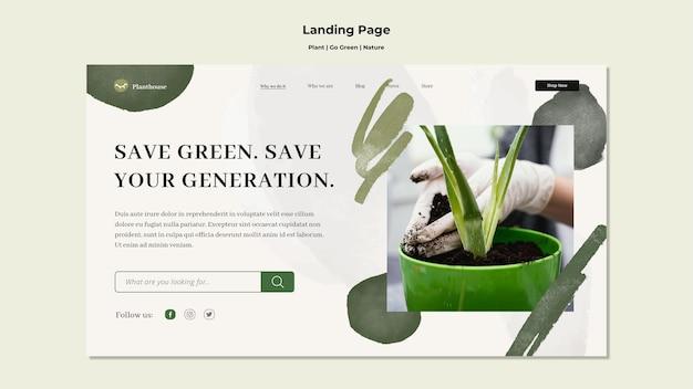 Pagina di destinazione della natura verde della pianta