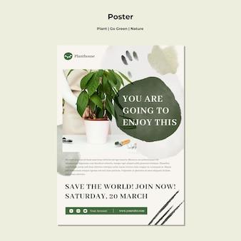 Плакат plant go green nature
