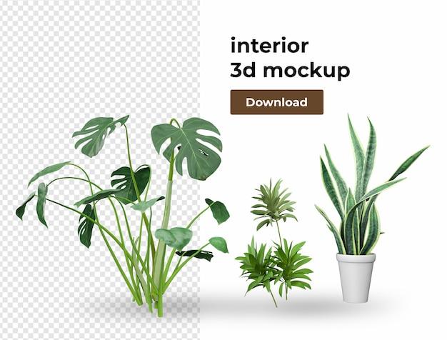 Растение в горшке украшение для дома в 3d рендеринге