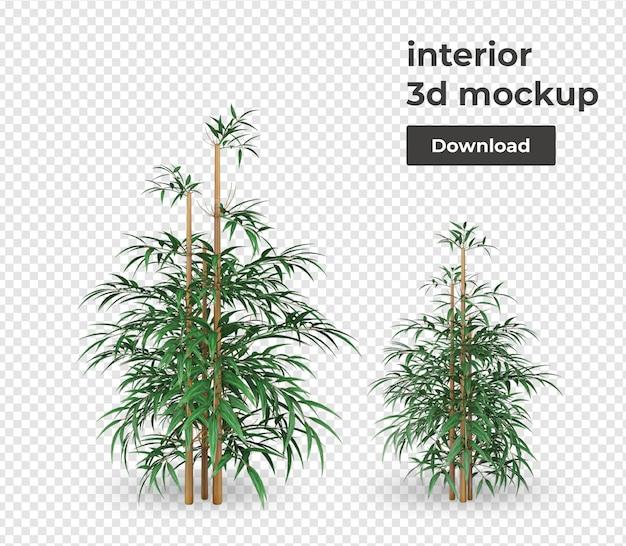 Растение в горшке макет украшения