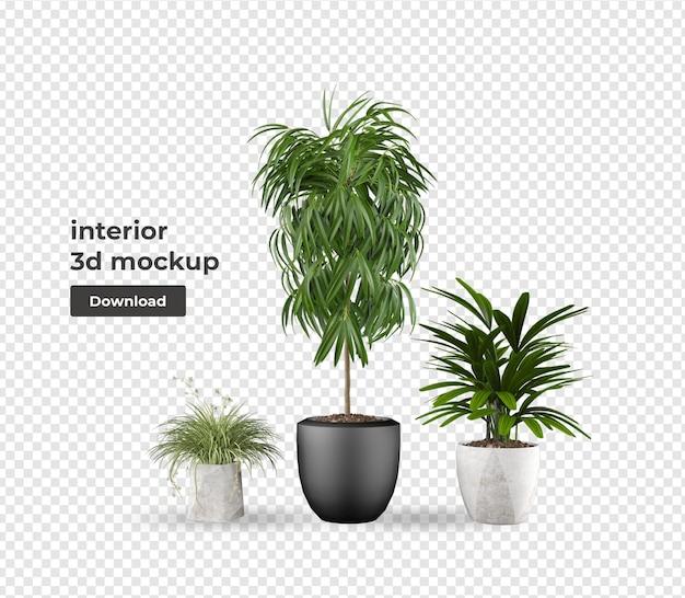 Растение в горшке мокап в 3д редеринге