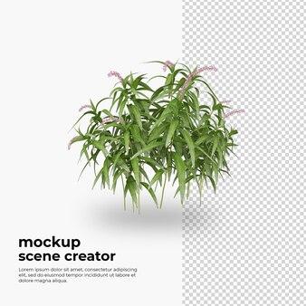 装飾モックアップをレンダリングする植物