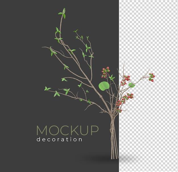 装飾の孤立したモックアップをレンダリングする植物