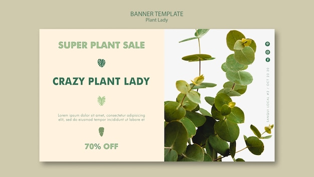 Plant lady banner template