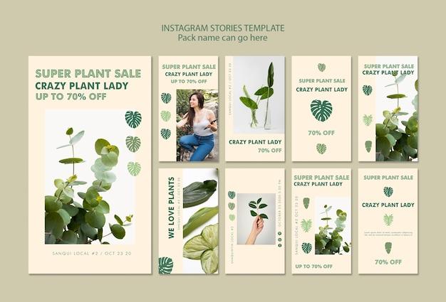 Storie di instagram di concetto della signora della pianta