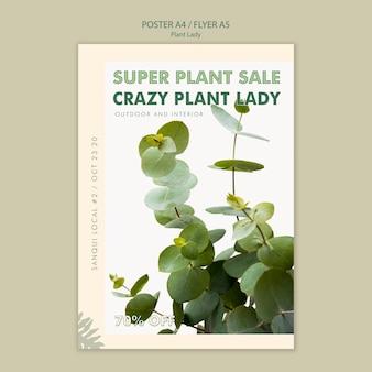 植物女性コンセプトポスタースタイル