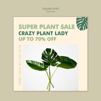 Design per volantini quadrati pianta signora