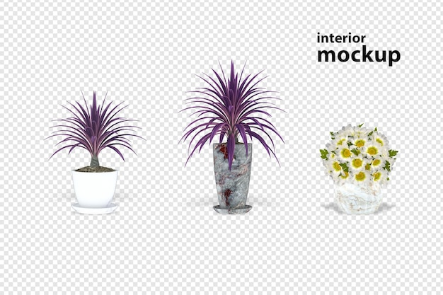 Plant mockup 3d rendering isolated