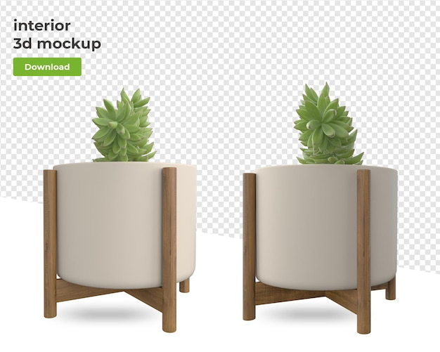 Plant in pot in rendering isolated designs
