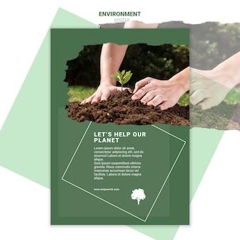 土ポスターテンプレートに新しい苗を植える