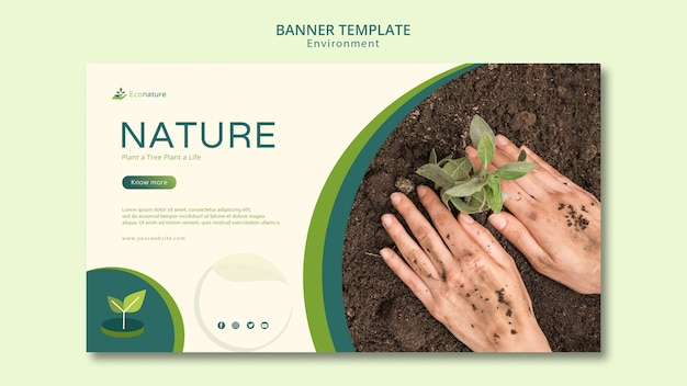 Planting seedlings in soil banner template