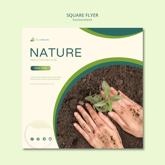 Planting seedlings square flyer template