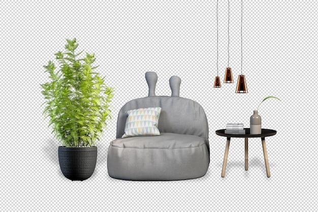 Кресло plants в горшках в 3d визуализации