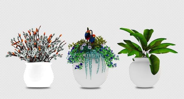 Цветочные растения в горшках в 3d визуализации
