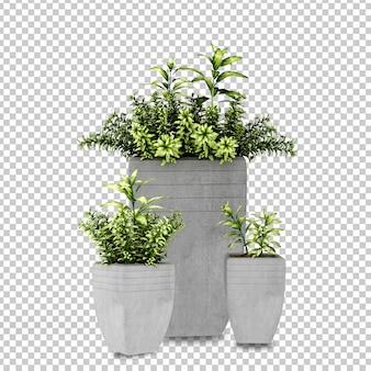 Растения в горшках в 3d визуализации изолированные Premium Psd