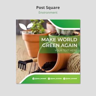 Plants in pots indoors post square template