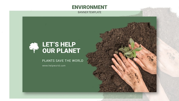 Plants saving the planet banner template