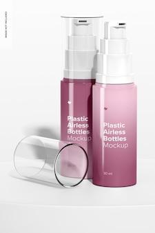 Мокап пластиковых безвоздушных бутылок, открытые и закрытые